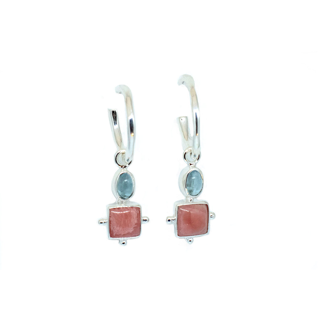 Charm  - Tourmaline and Rhodochrasite silver - Anna Design Jewellery