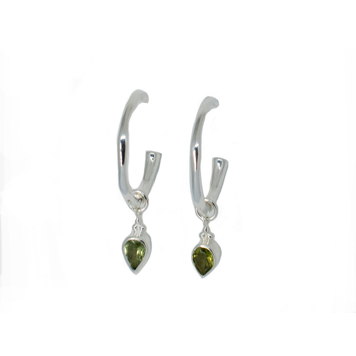 Green Tourmaline Silver Charmed Hoops - Anna Design Jewellery