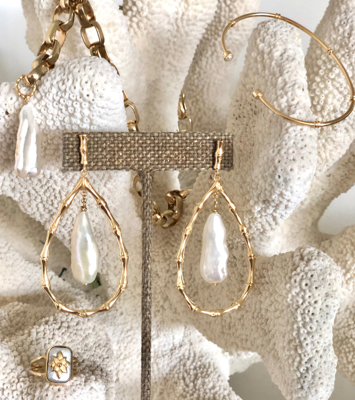 Annabelle Gold Pearl Hoops - Anna Design Jewellery