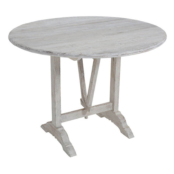 Bordeaux Pine Whitewash Folding Wine Table                          39x30""