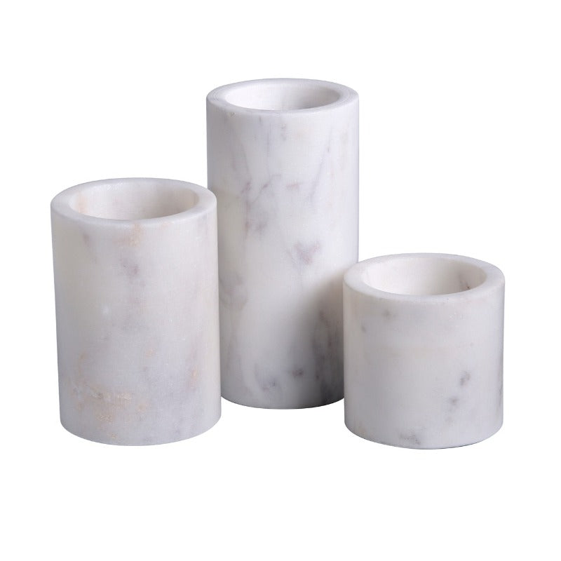White Marble Cylinder Votive Holder (3 Sizes)