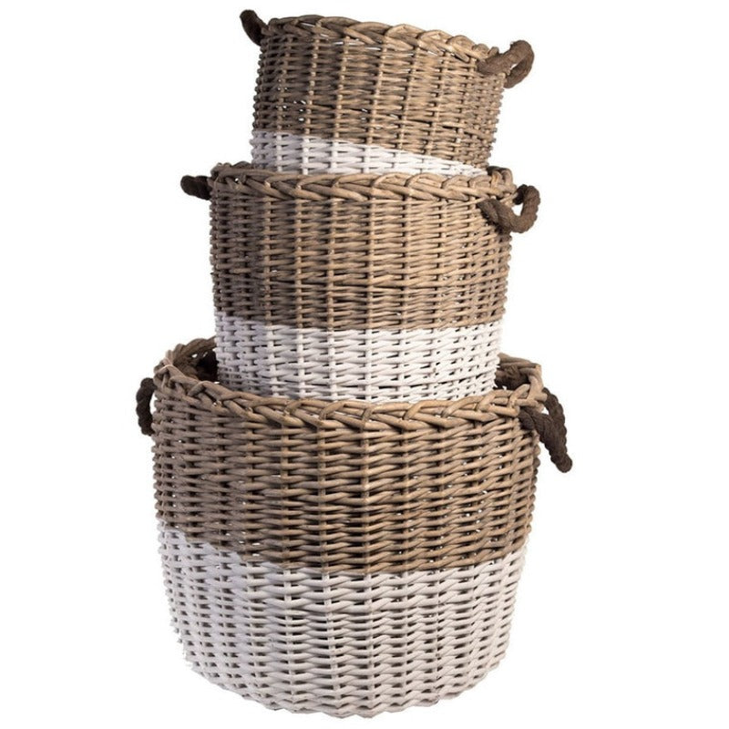 Willow & White Dipped Baskets- Rope Handles (Set of 3)- DS Only