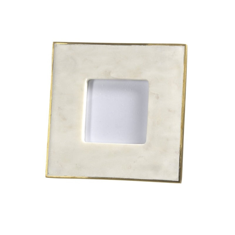"Marble & Brass Square Frame- Fits 3.5x3.5"" Photo"