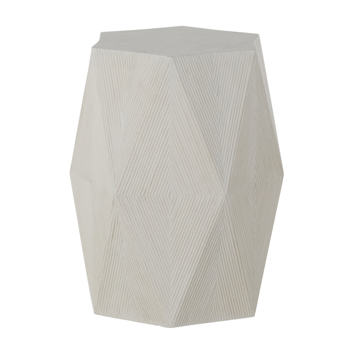 White Cast Stone Geometric Ribbed Side Table W16.25 x D13.5 x H24.5
