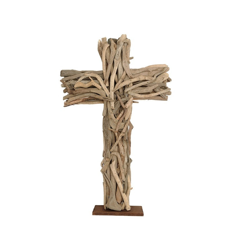 "Driftwood Cross on Base- 13""L x 22""H"