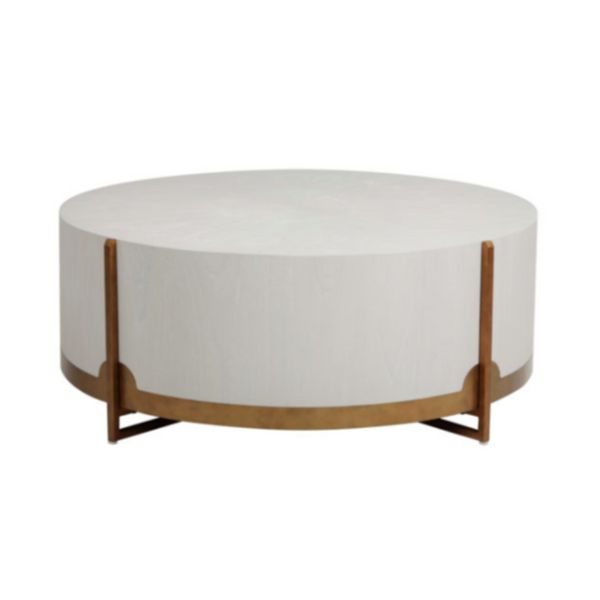 White & Brass Round Oak Drum Coffee Table 47.75 W 47.75 D 18.25 H