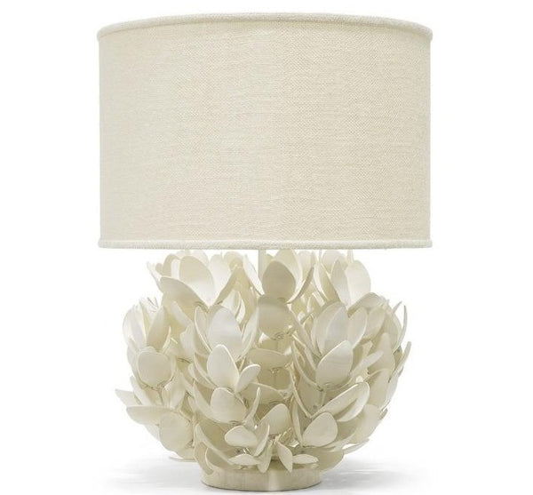 "Off-White Petal Hand-Cut Coconut Shell Lamp 20""d x 29.5""h"