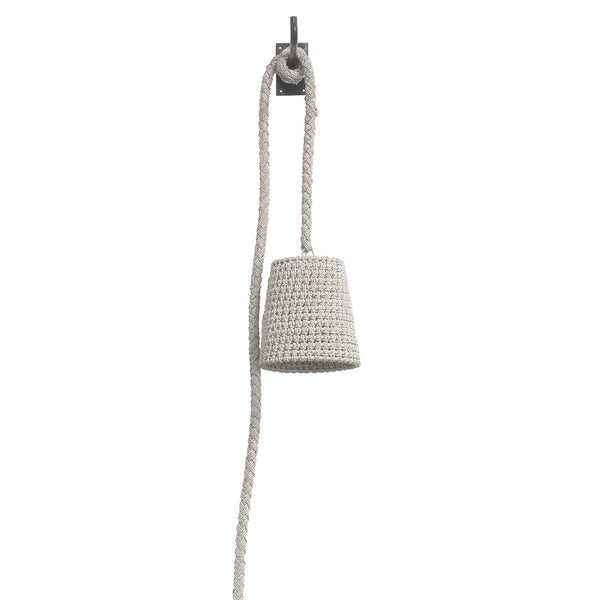 "White Sand Albaca Rope & Rattan Wall Pendant 9""d x 9.5""h"