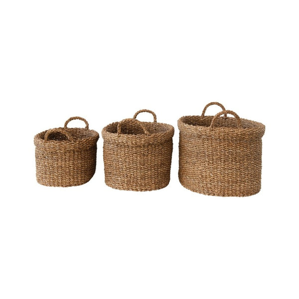 Oval Seagrass Woven Basket with Handles (3 Sizes)