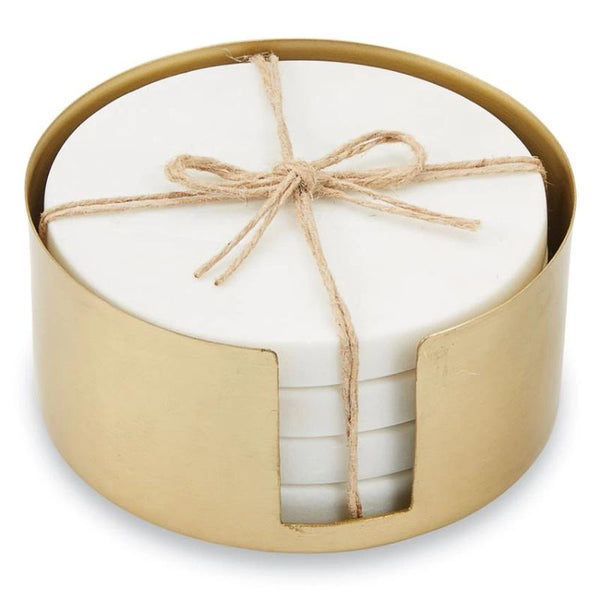 White Marble Coasters with Brass Holder -5-piece Set
