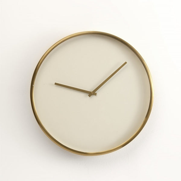 "16"" White & Gold Simple Clock"