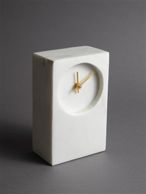 "8"" White Marble Table Clock"