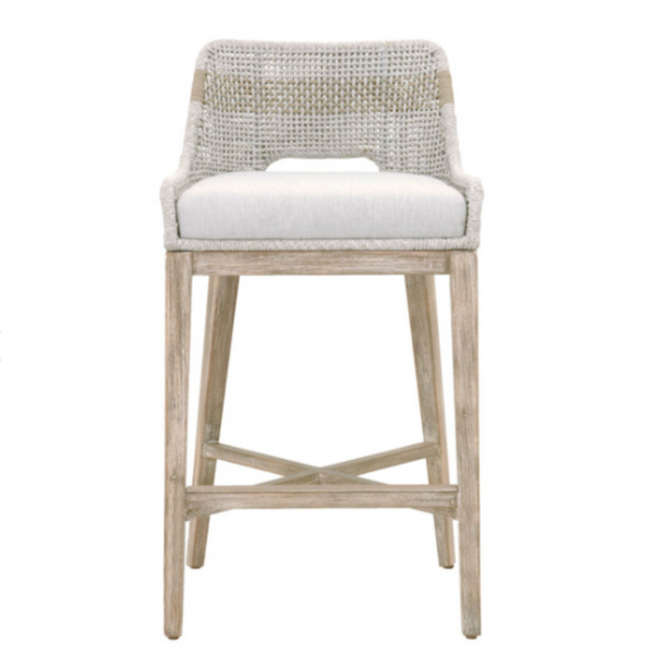 Woven Counter Stool/ Barstool - Taupe/White