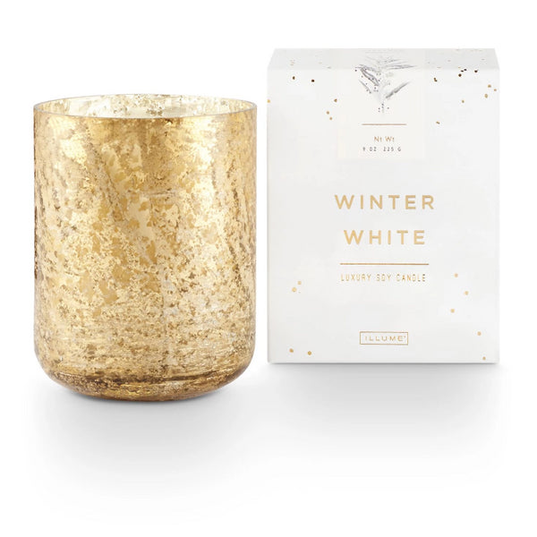 Small Luxe Sanded Mercury Glass Candle- Winter White