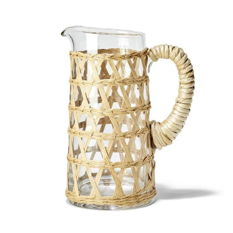 Island Chic Hand-Woven Lattice Rattan Look Pitcher- 32 oz.
