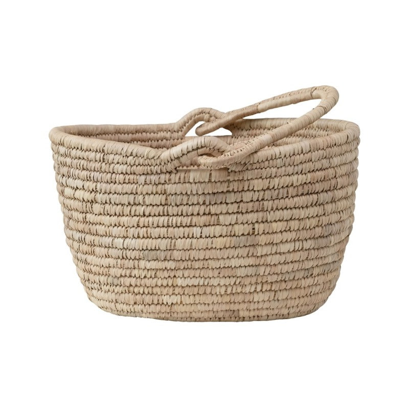 Oval Grass & Date Leaf Basket with Handle