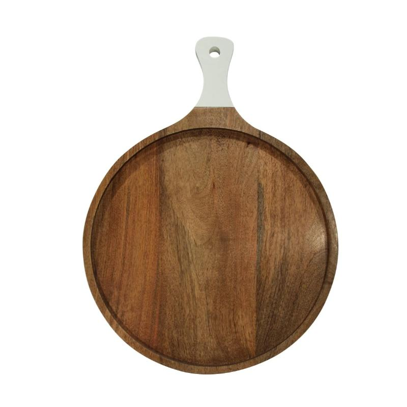 "24"" Round Wood Cutting Board-White Handle- 24""L 18""W"