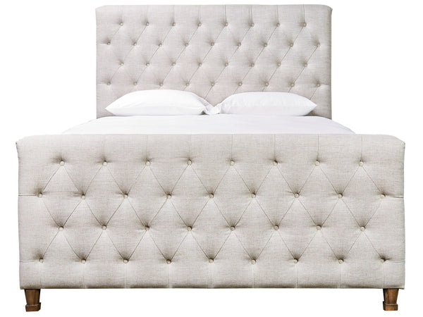 King Button Tufted Linen Blend Upholstered Bed 82w X 88d X 62h
