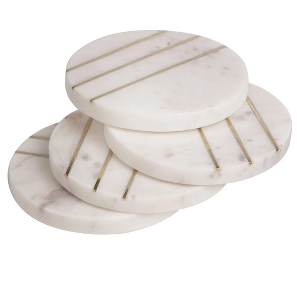 Set of 4 Round Marble with Brass Coasters