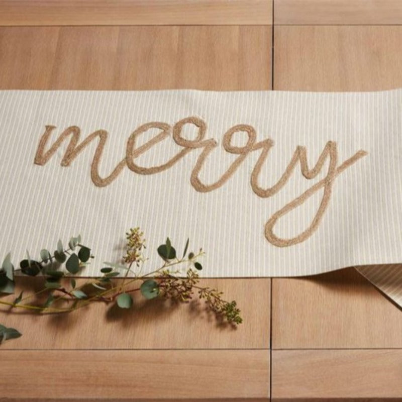 "83"" Gold Merry Table Runner"
