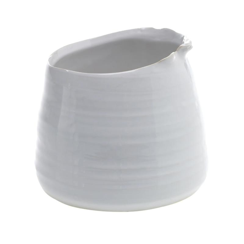 "5"" White Asymmetrical Tegan Pot"