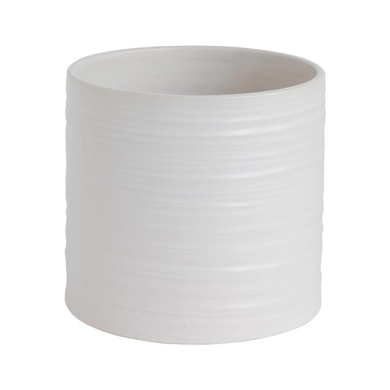 Striated Matte White Ceramic Pot