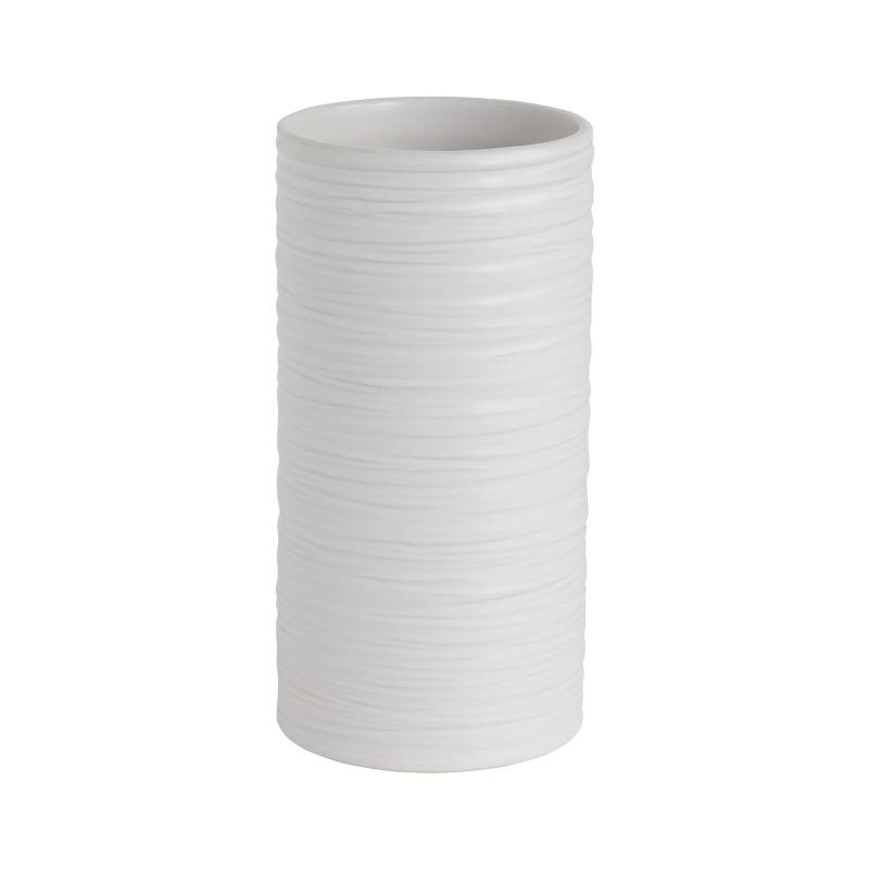 "White Striated Vase- 3.5""x 7"""