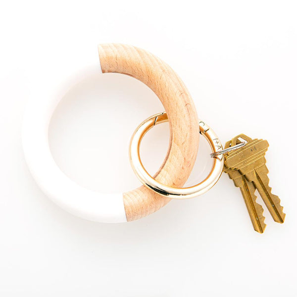 White Wood Resin Key Ring Bracelet