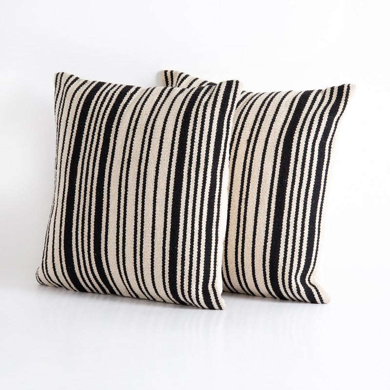 Black & White Stripe Woven Pillow- 20x20