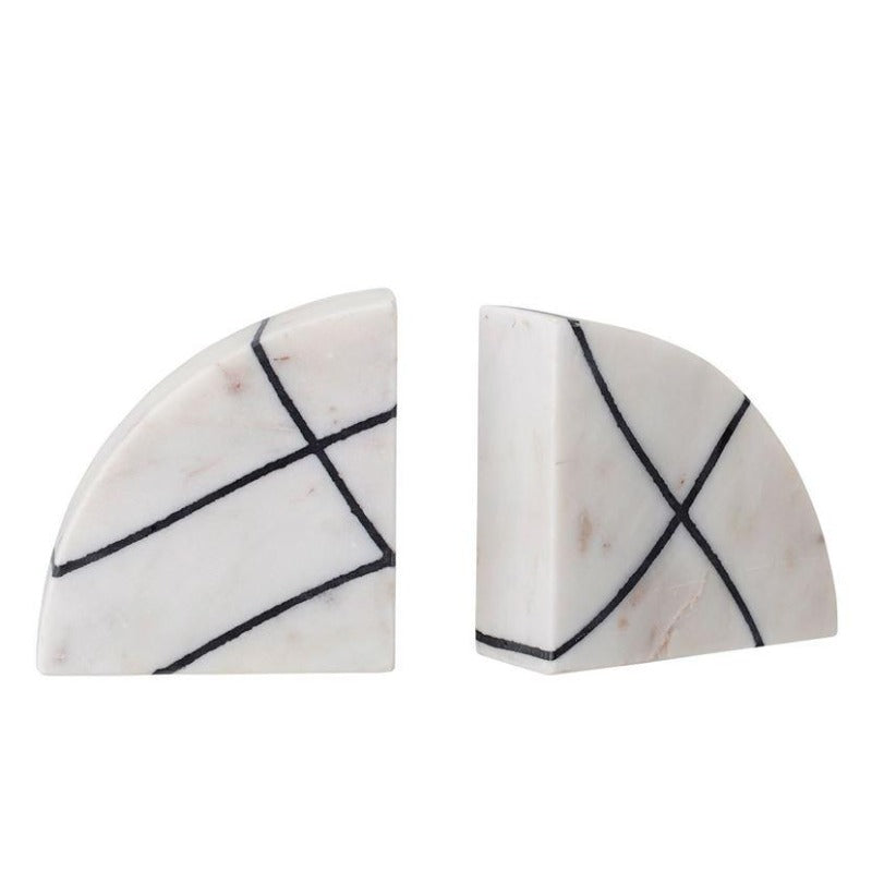 Black & White Geometric Marble Arch Bookends (Set of 2)