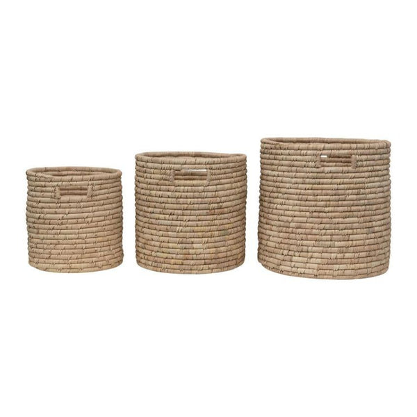 Hand-Woven Grass Baskets with Handles (3 Sizes)