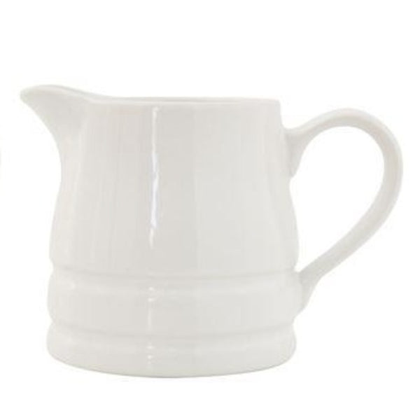 3.75x4.25 White Double Banded Stoneware Pitcher