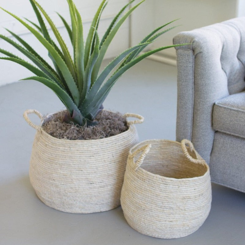 Round Light Seagrass Basket with Handle