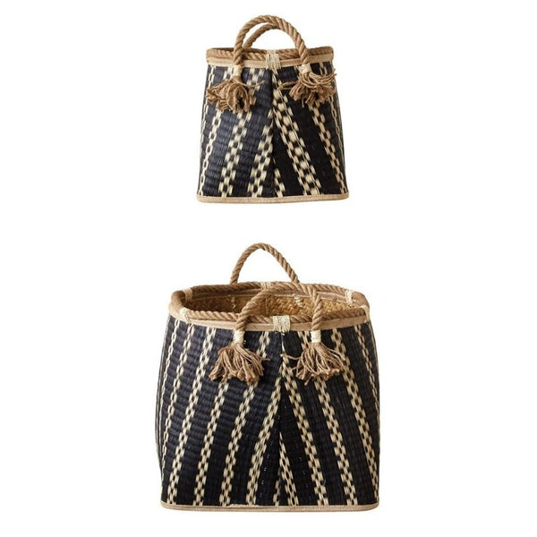 Black & Natural Wicker Basket with Handle (2 Sizes)