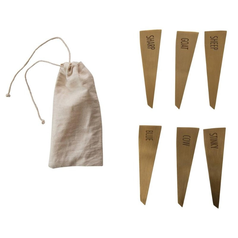 Brass Finish Cheese Markers (Set of 6)