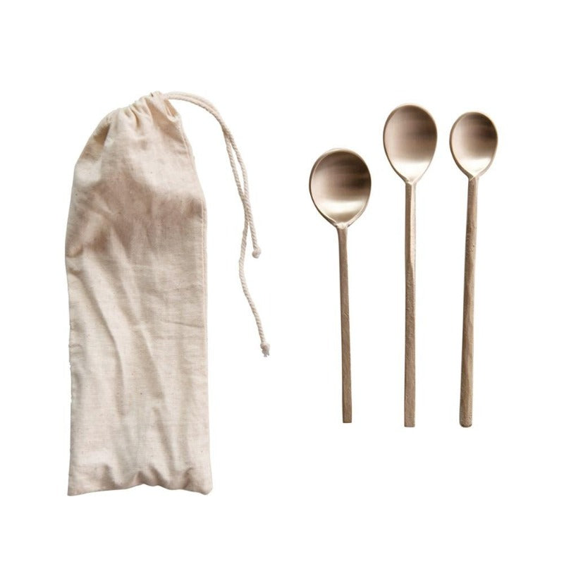 Set of 3 Brass Spoons in Drawstring Bag
