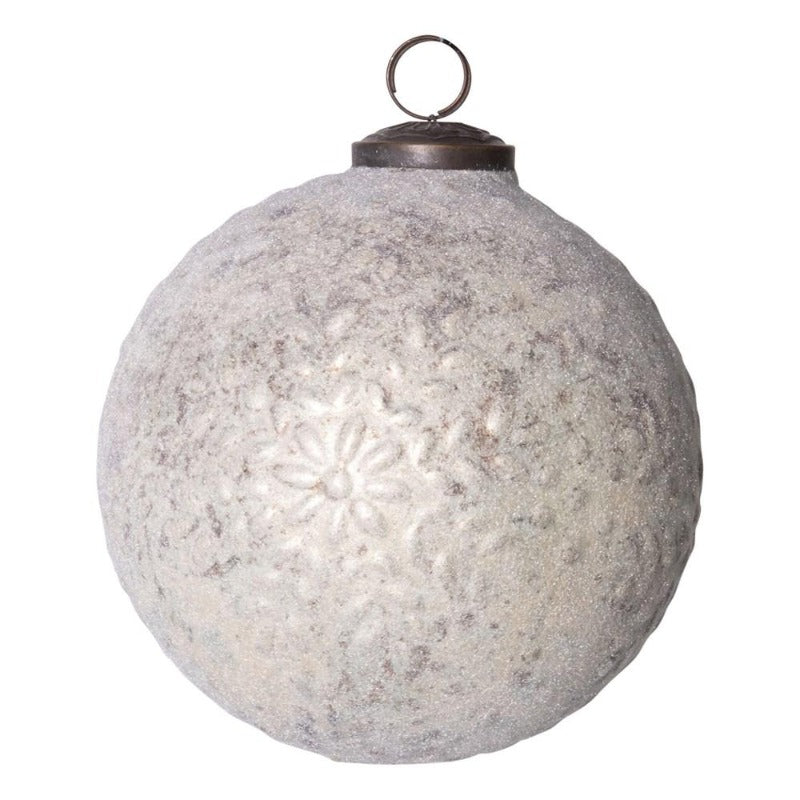 "5"" White Embossed Round Glass Ornament"