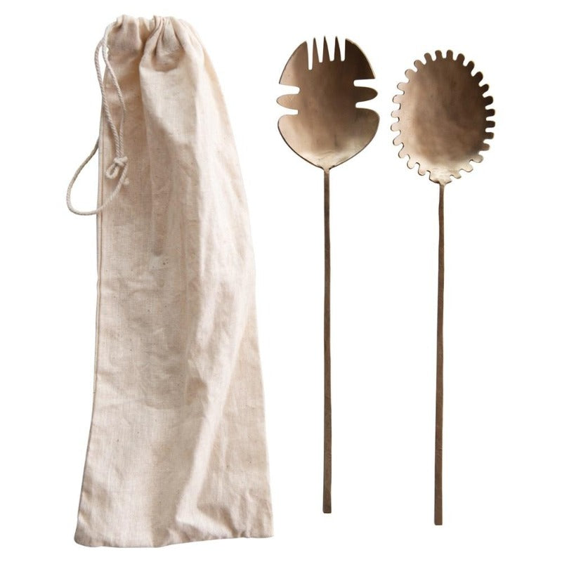Hand-Forged Brass Salad Servers- Set of 2 in Drawstring Bag