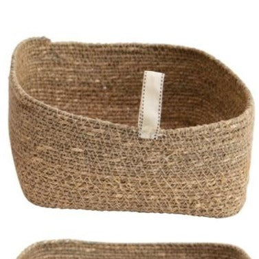 Seagrass Basket with Fabric Tab (3 Sizes)