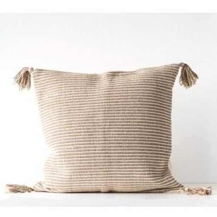 24x24 Stripe Woven Pillow with Tassels (2 Colors)