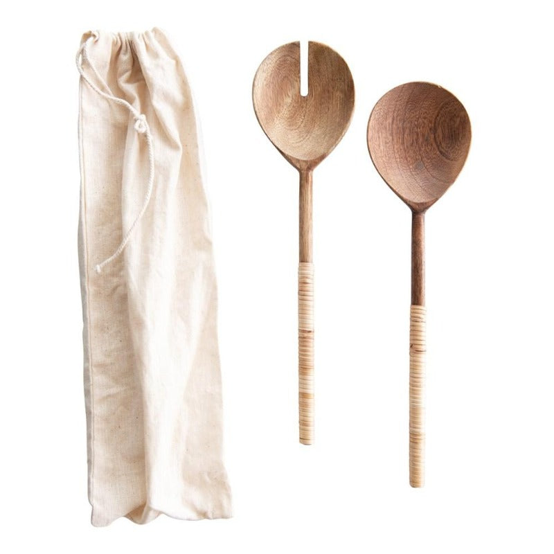 Wood & Bamboo Salad Servers- Set of 2 in Drawstring Bag