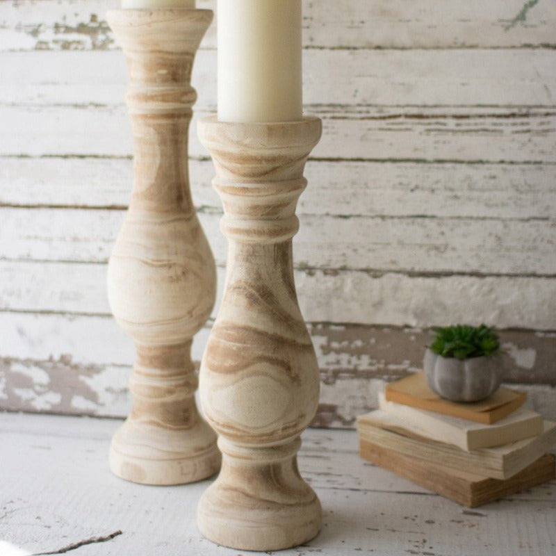 Oversized Hand Carved Wooden Candle Holder (Available in 2 Sizes)