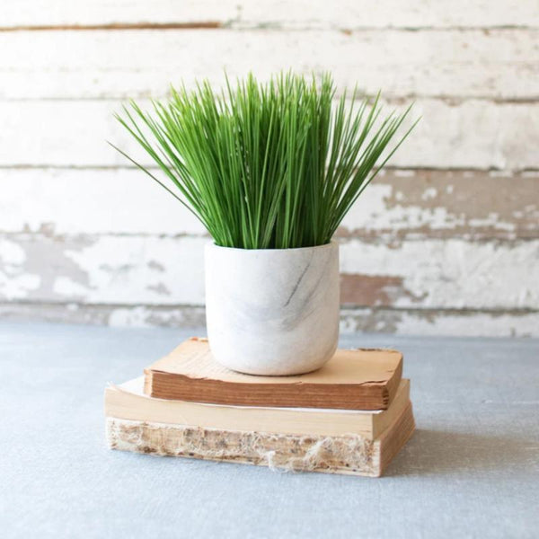 "Faux Grass in a Marble Pot- 4""d x 9.5""t"