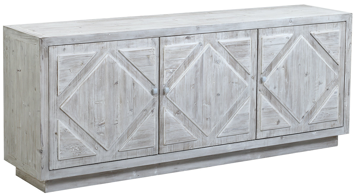 "Diamond Recycled Pine Whitewash Sideboard 84""L x 24""D x 34""H"