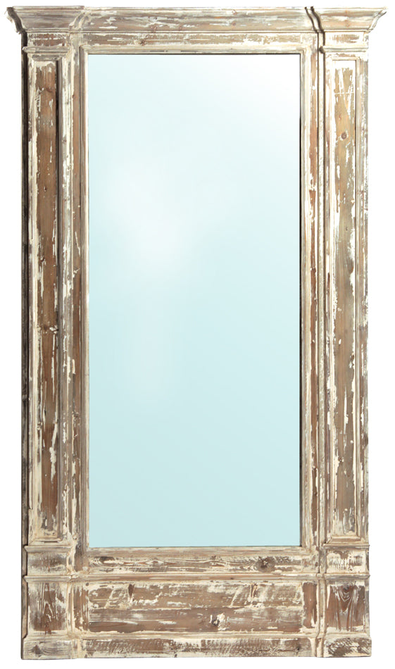 Distressed White Reclaimed Pine Mirror- 51x86""