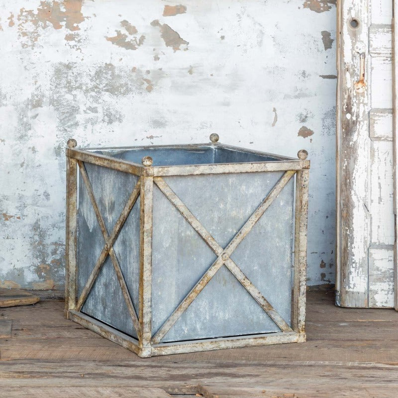 "Large Weathered Metal Estate Planter  24""x24""x26""  DS Only"