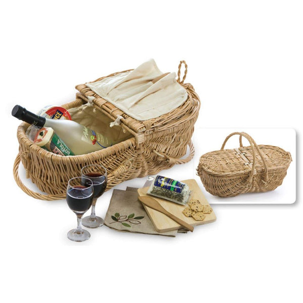 Natural Wicker Wine & Cheese Picnic Basket for 2