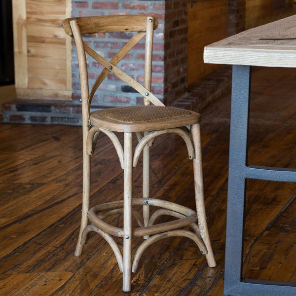 "Wood Cross Back Counter Stool with Cane Seat 18"" x 18"" x 38"", 24.5"" Seat Height"