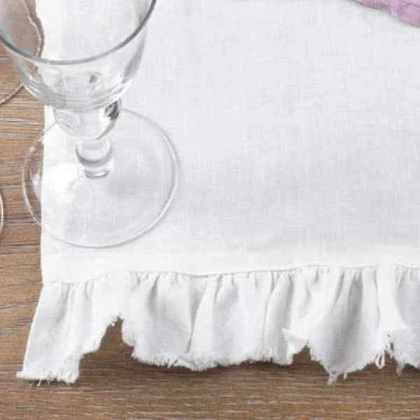 White Linen End Ruffle Runner