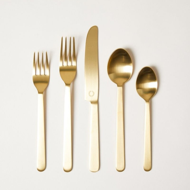 Brushed Gold 20 Piece Flatware - Farmhouse Pottery